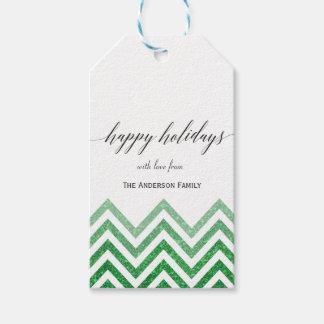 Happy Holidays green chevron gift tags