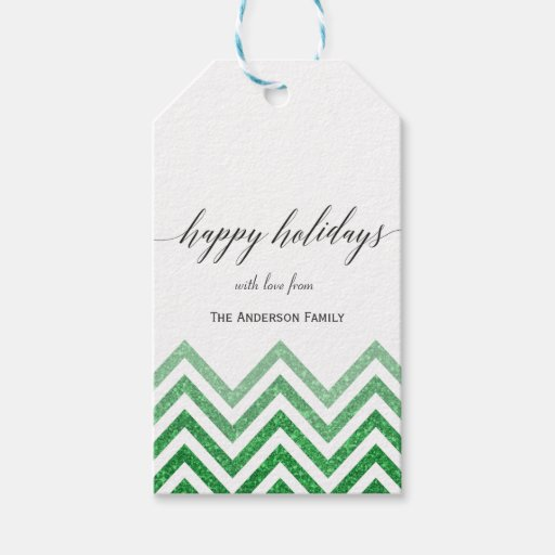 Happy Holidays green chevron gift tags Pack Of Gift Tags