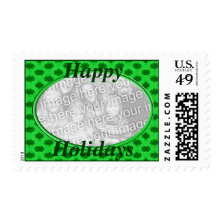 happy holidays green floral photoframe postage
