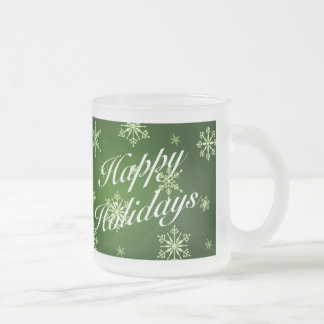 Happy Holidays Green Holiday Glass Mug Set