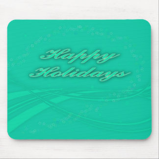 Happy Holidays Green on Green Holiday Design Mouse Pad