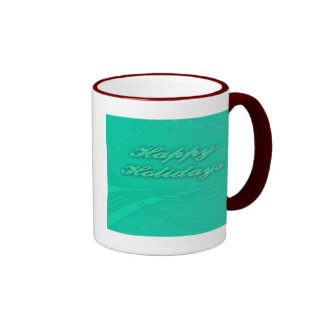 Happy Holidays Green on Green Holiday Design Ringer Mug