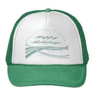 Happy Holidays Green on White Background Trucker Hat