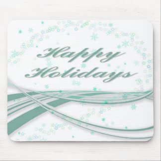 Happy Holidays Green on White Background Mouse Pad