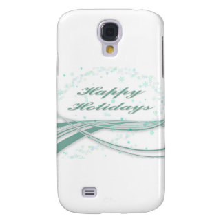 Happy Holidays Green on White Background Samsung Galaxy S4 Covers
