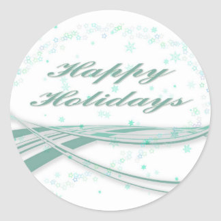 Happy Holidays Green on White Background Stickers
