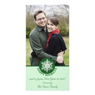 Happy Holidays Green Paper Snowflake 4x8 Card
