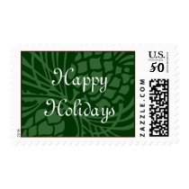 Happy Holidays Green Postage
