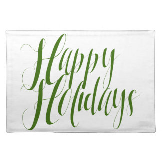 Happy Holidays Green Script Cloth Placemat