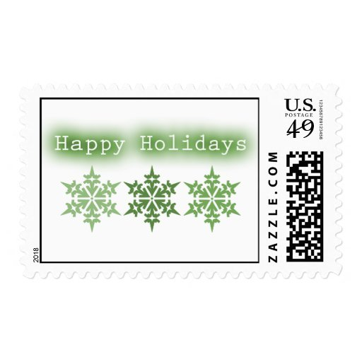 Happy Holidays Green Snowflake Trio Postage