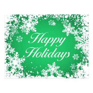 Happy Holidays Green (snowflakes) Postcard