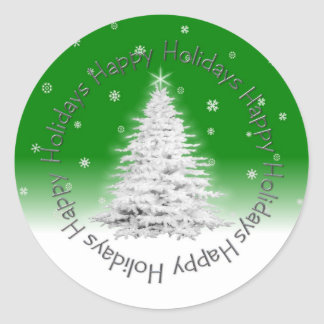 Happy Holidays Green Sticker