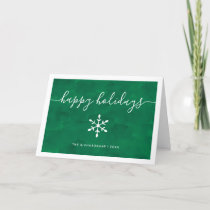 Happy Holidays | Green Watercolor with Script Holiday Card