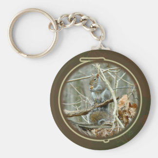 Happy Holidays Greeting - Gray Squirrel Basic Round Button Keychain