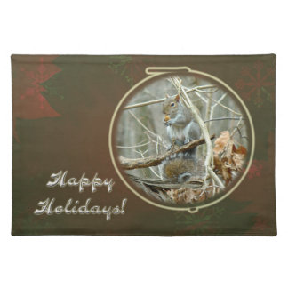 Happy Holidays Greeting - Gray Squirrel Placemat