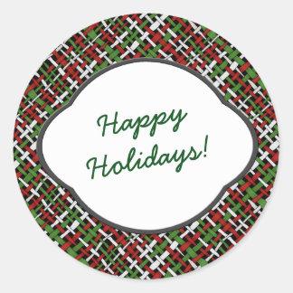 Happy Holidays Greeting on Seasonal Burlap Classic Round Sticker