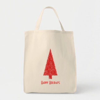 Happy Holidays Greeting. Red Christmas Tree Bags