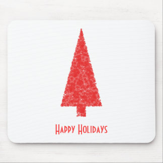 Happy Holidays Greeting. Red Christmas Tree Mouse Pad