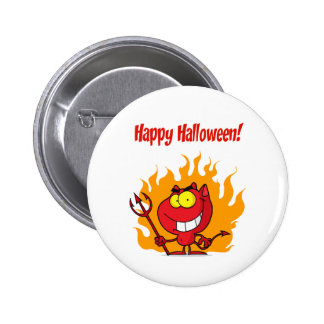 Happy Holidays Greeting With Halloween Devil Pinback Button