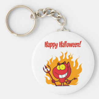 Happy Holidays Greeting With Halloween Devil Keychain