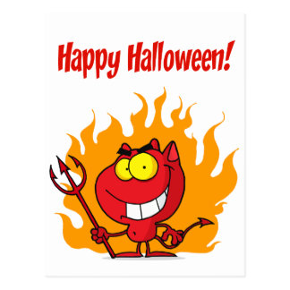 Happy Holidays Greeting With Halloween Devil Postcard
