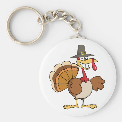 Happy Holidays Greeting With Turkey Keychain