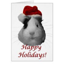 Happy Holidays guinea pig christmas santa claus Card