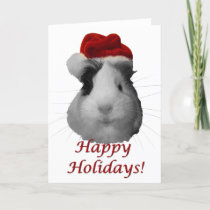 Happy Holidays guinea pig christmas santa claus Holiday Card