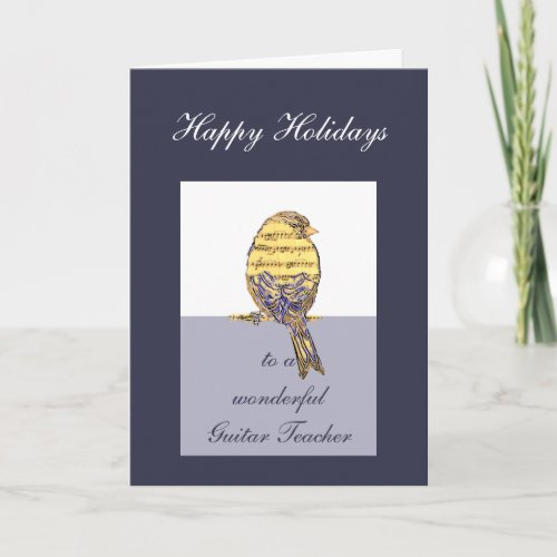 Happy Holidays Guitar Teacher Music Note Bird Holiday Card
