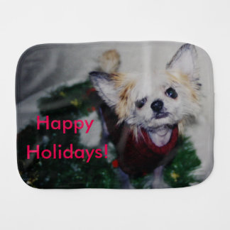 Happy Holidays Hairless Chinese Crested Puppy Dog Baby Burp Cloth