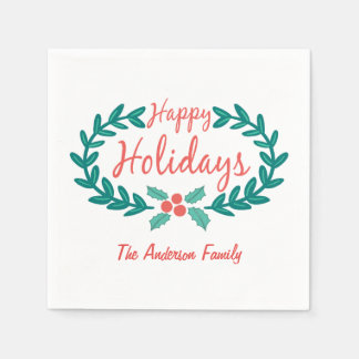 HAPPY HOLIDAYS HAND-DRAWN HOLLY WREATH WHITE STANDARD COCKTAIL NAPKIN