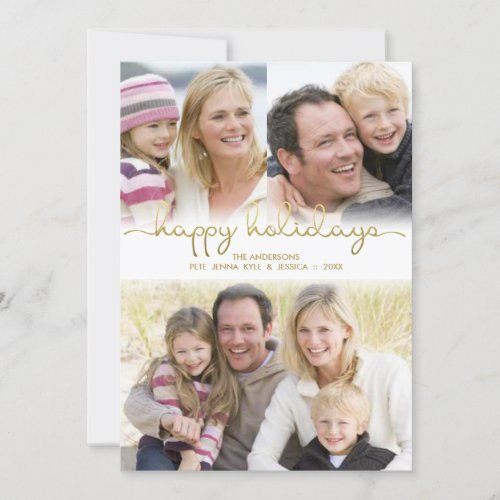 Happy Holidays Hand Lettered Gold Photo Collage Holiday Card