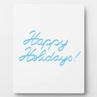 happy holidays  handwriting plaque