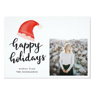 Happy Holidays Handwritten Red Santa Hat Photo Card