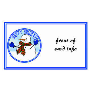 Happy Holidays - Happy Cartoon Snowman w/Mittens Business Card Templates