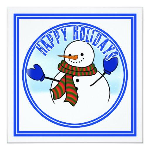 Happy Holidays - Happy Cartoon Snowman w/Mittens Invite
