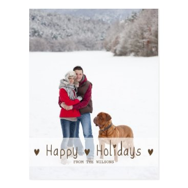 Christmas Themed HAPPY HOLIDAYS | HOLIDAY PHOTO POSTCARD