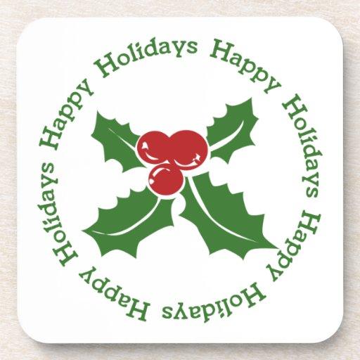 Happy Holidays Holly Berry Coaster Set