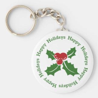 Happy Holidays Holly Berry Keychain