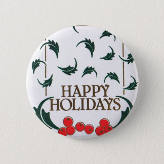 Happy Holidays Holly Button