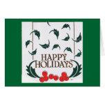 Happy Holidays Holly Greeting Card