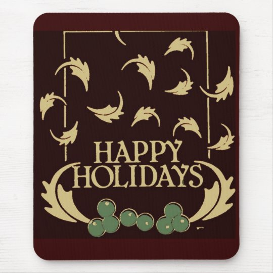 Happy Holidays Holly Mouse Pad