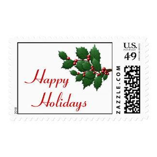Happy Holidays Holly Postage Postage Stamp
