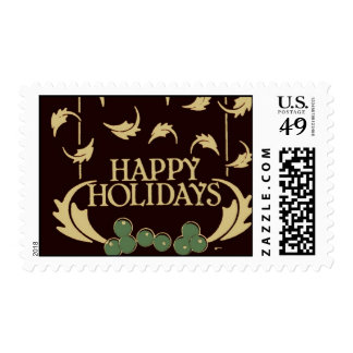 Happy Holidays Holly Postage Stamps