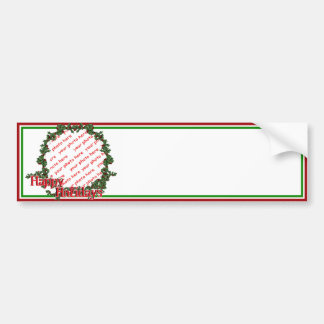 Happy Holidays Holly Wreath Photo Frame Bumper Stickers