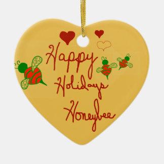 Happy Holidays Honeybee Heart Ornament