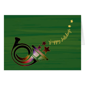 Happy Holidays Horn with Stars and Nebula – Hubble Greeting Card