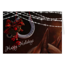 Happy Holidays Horse and Horseshoe Christmas Card