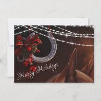 Happy Holidays Horse and Horseshoe Christmas Holiday Card