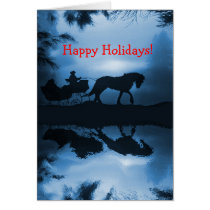 Happy Holidays Horse and Sleigh in the Snow Card